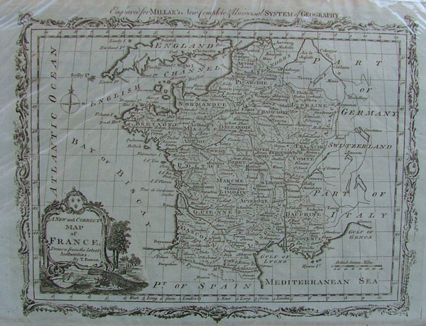 afbeelding van kaart A new and correct map of France, Drawn from the latest Authorities van Thomas Bowen
