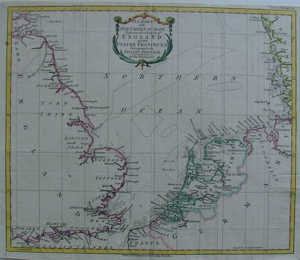 afbeelding van kaart A Chart of the Northern Ocean between the coasts of England and the United Provinces van Thomas Kitchin, R. Balwin (Netherlands)