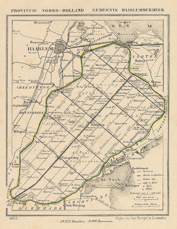 Kuyper gemeentekaart Gemeente Haarlemmermeer 1867