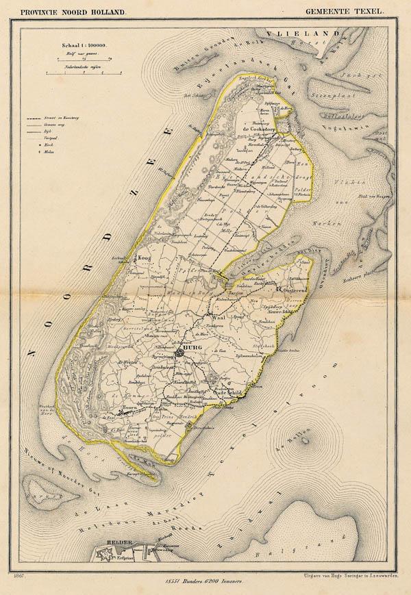 Kuyper Gemeentekaart Gemeente Texel 1866