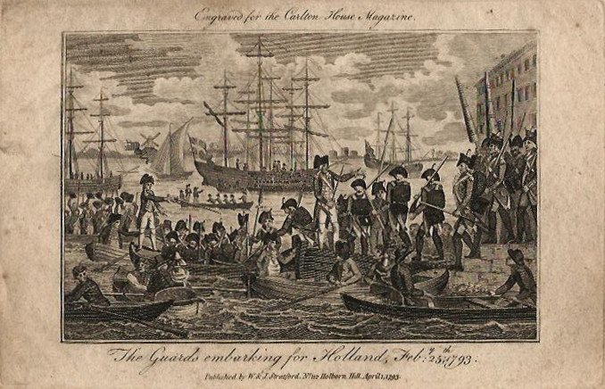 afbeelding van gezicht The guards embarking for Holland, Feb 25, 1793 van Stratford (Holland)