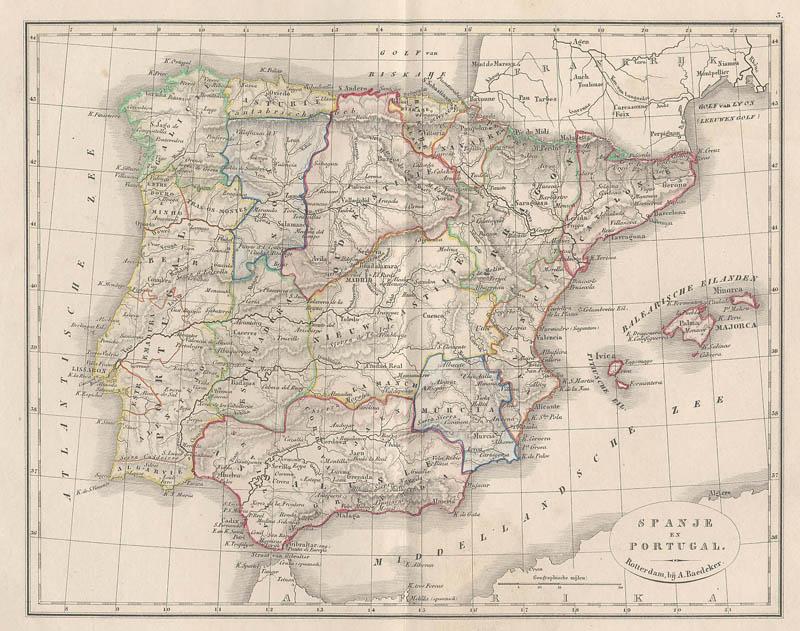 Spanje En Portugal Een Antieke Kaart Van Spanje Portugal Door A