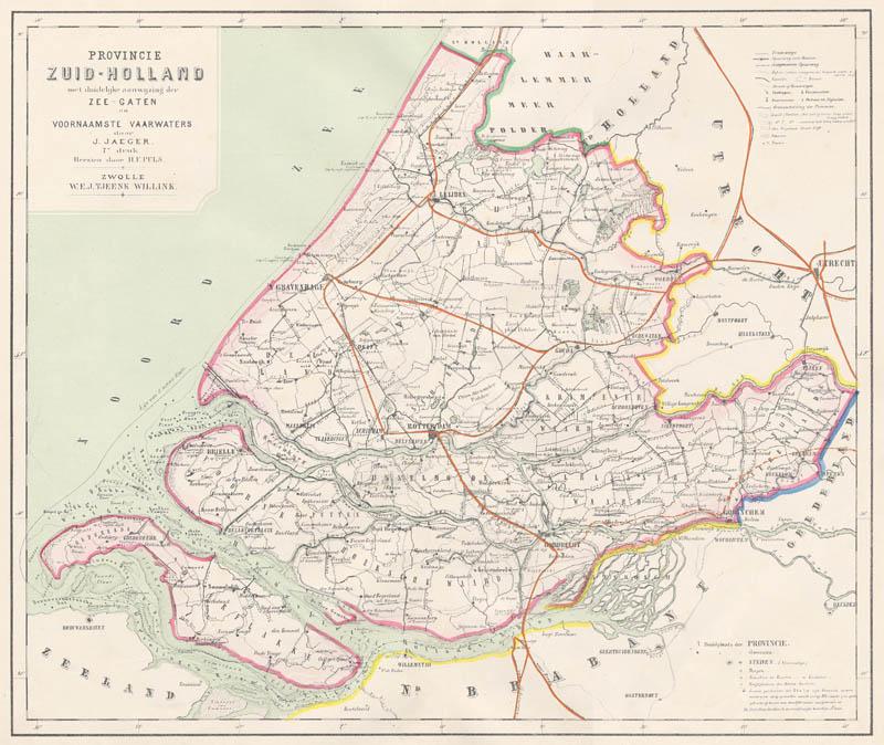 Kaart Van De Provincie Zuid Holland Met Aanduiding Der Zeegaten