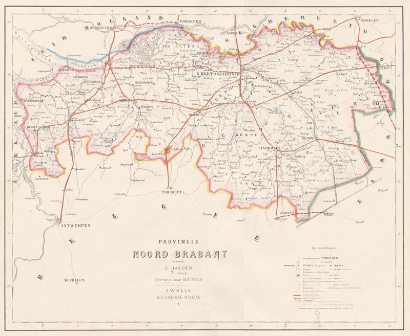 Kaart Van De Provincie Brabant Een Antieke Kaart Van Noord