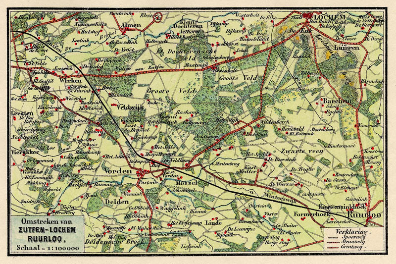 Kaart Van De Omstreken Van Zutfen Lochem Ruurloo 2 Een Antieke