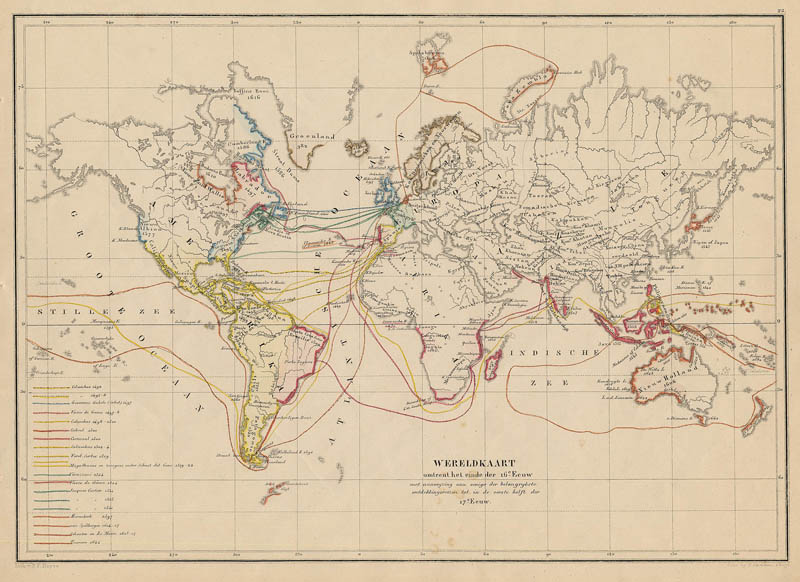 Wereldkaart omtrent het einde de 16e eeuw een antieke kaart door de erven thierry en mensing - Einde van de wereld meubilair ...