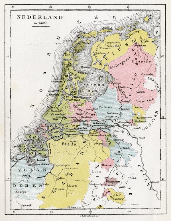 Nederland In 1350 Een Antieke Kaart Van Nederland Door C L