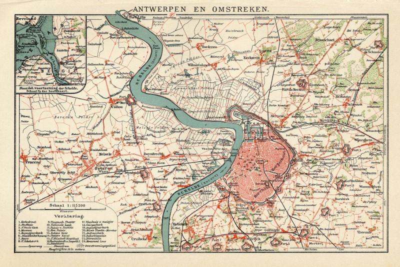 Antwerpen en omstreken, een antieke plattegrond van Antwerpen in Belgi u00eb door Winkler Prins uit