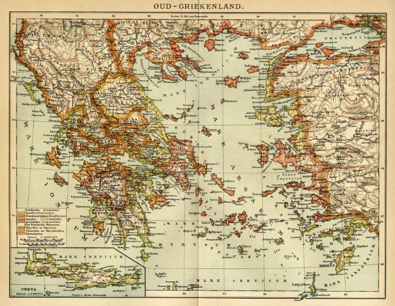 Oud Griekenland Een Antieke Kaart Van Griekenland Door Winkler