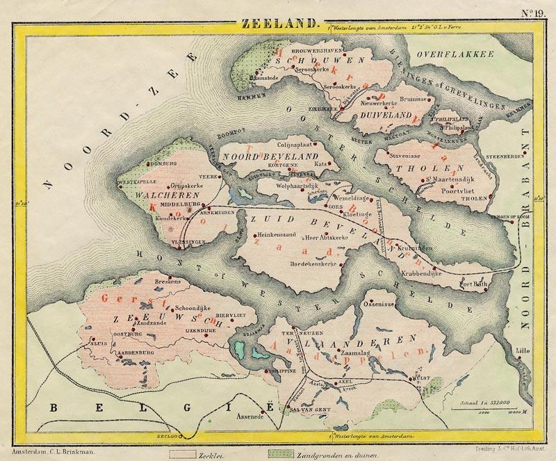 Zeeland Een Antieke Kaart Van Zeeland Door Posthumus Van