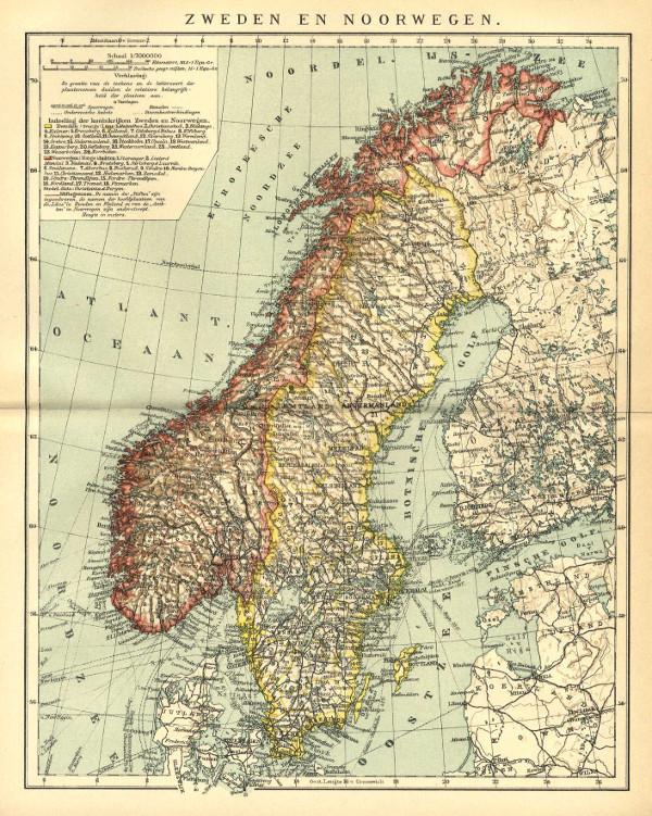 Zweden En Noorwegen Een Antieke Kaart Van Zweden Noorwegen Door