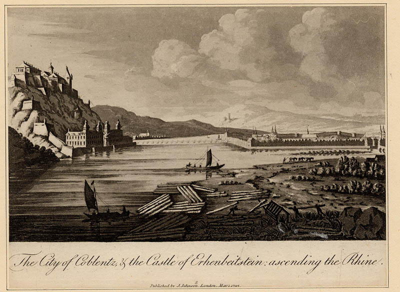 afbeelding van prent The City of Coblentz, & the Castle of Erhenbeitstein: ascending the Rhine. van NN (Koblenz)