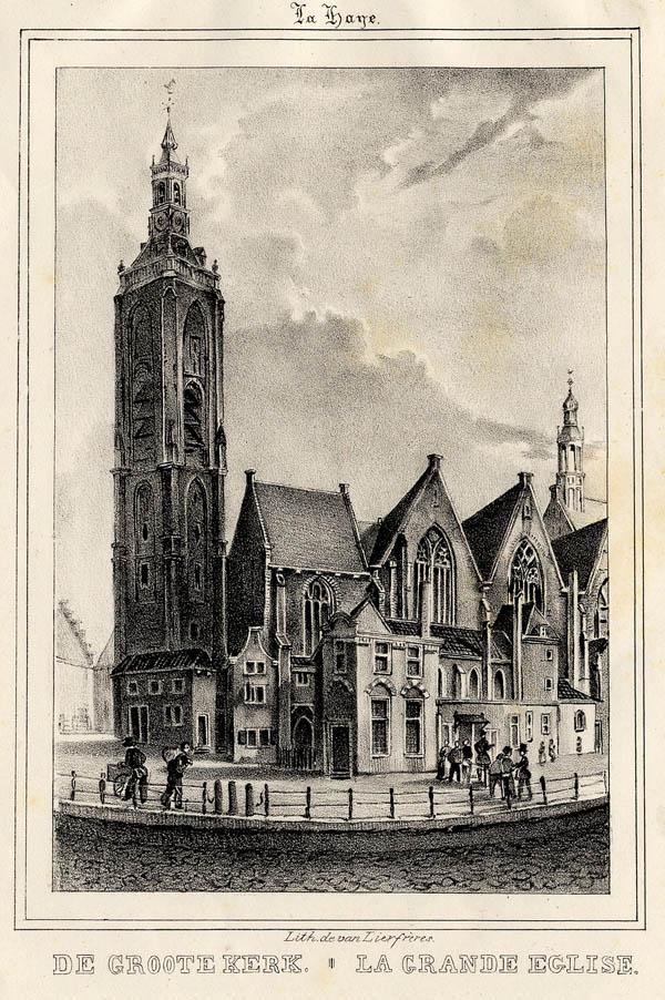 De Groote Kerk    La Grande  u00e9glise, een antieke gezicht van Den Haag,  u00b4s Gravenhage, The Hague in