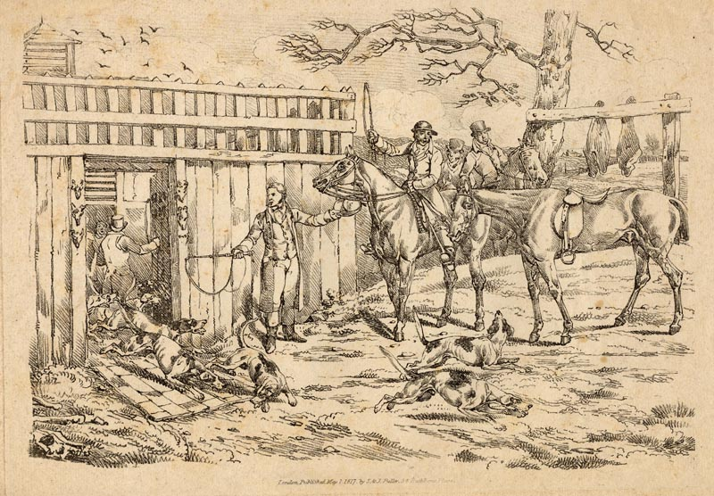 afbeelding van gravure Releasing the dogs for hunting - jacht van Henry Thomas Alken (Hond)