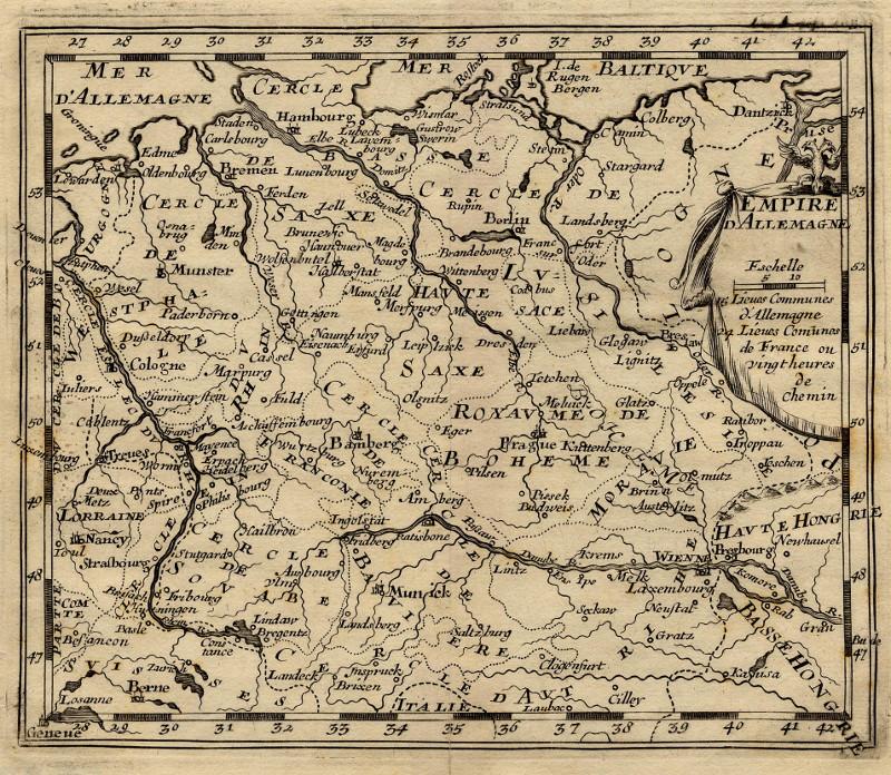 Empire D Allemagne Een Antieke Kaart Van Duitsland Door Nn Uit 1746