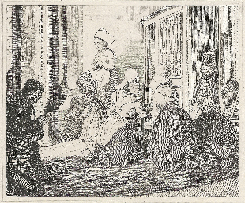afbeelding van gravure Caudebec, Contrition a la Confession, Preparing for Confession van G.L.